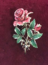 1960's Flower Brooch - Pink Rose - Signed Exquisite